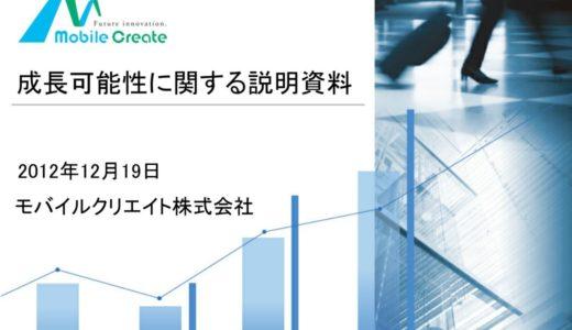 【モバイルクリエイト株式会社】成長可能性に関する説明資料(2012年12月19日)