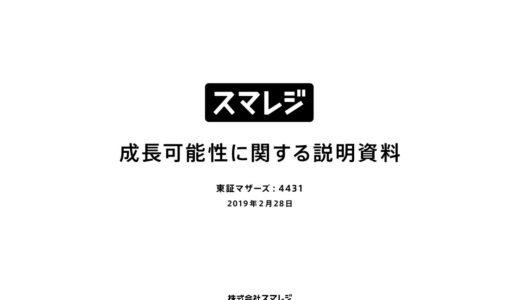 【株式会社スマレジ】成長可能性に関する説明資料(2019年2月28日)